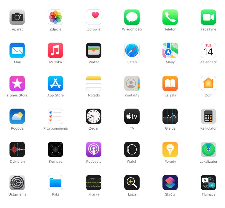 wbudowane aplikacje ios