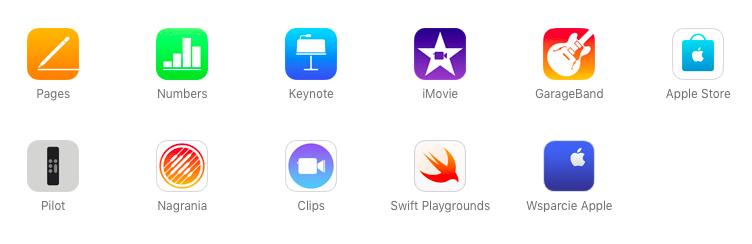 bezplatne aplikacje od Apple